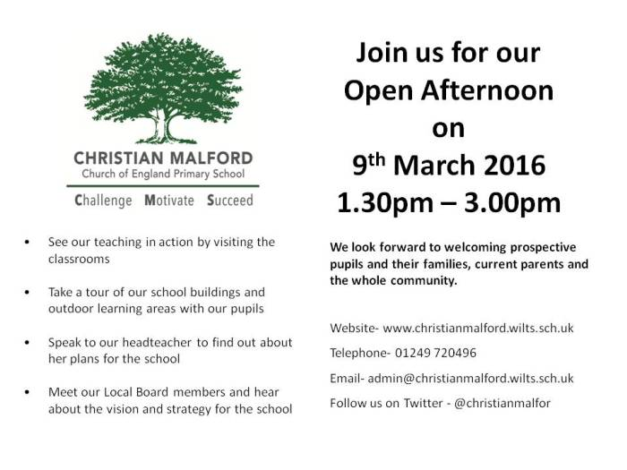 Open Day - March 2016 flyer